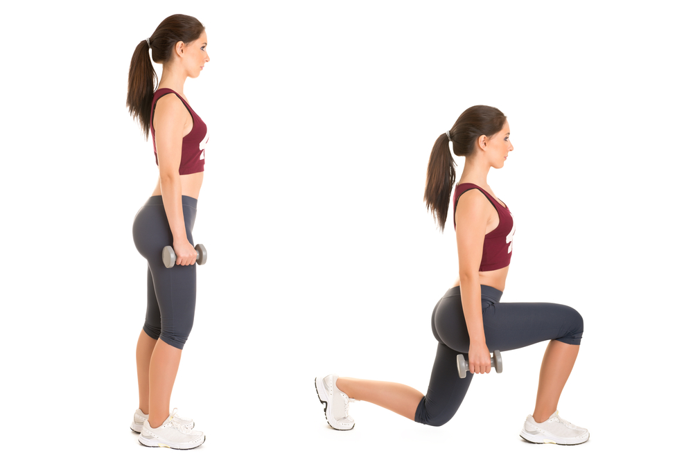 exercici lunges amb manuelles entrenament de pàdel