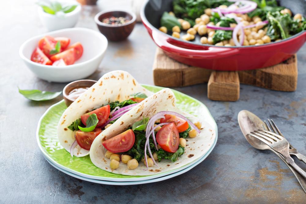 recepta de taco amb cigrons i espinacs
