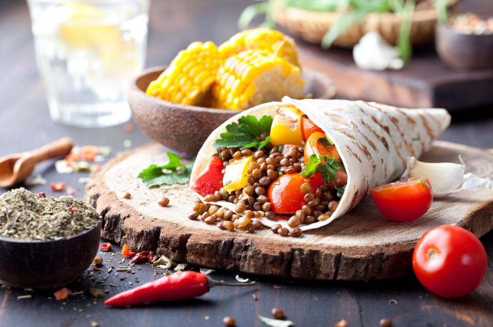 receta burrito de lentejas con verduras