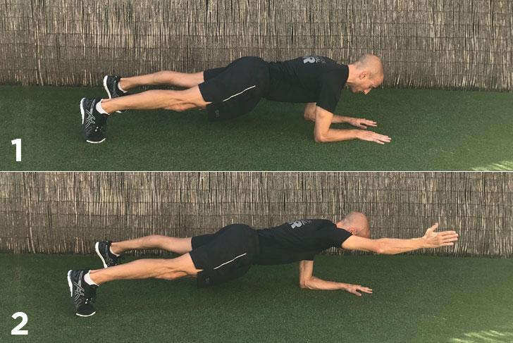 ejercicios plancha a un brazo
