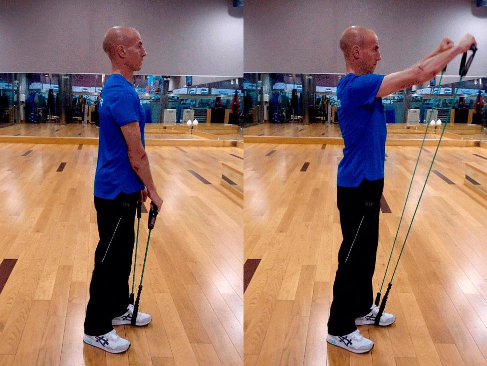 exercici deltoides amb bandes elàstiques