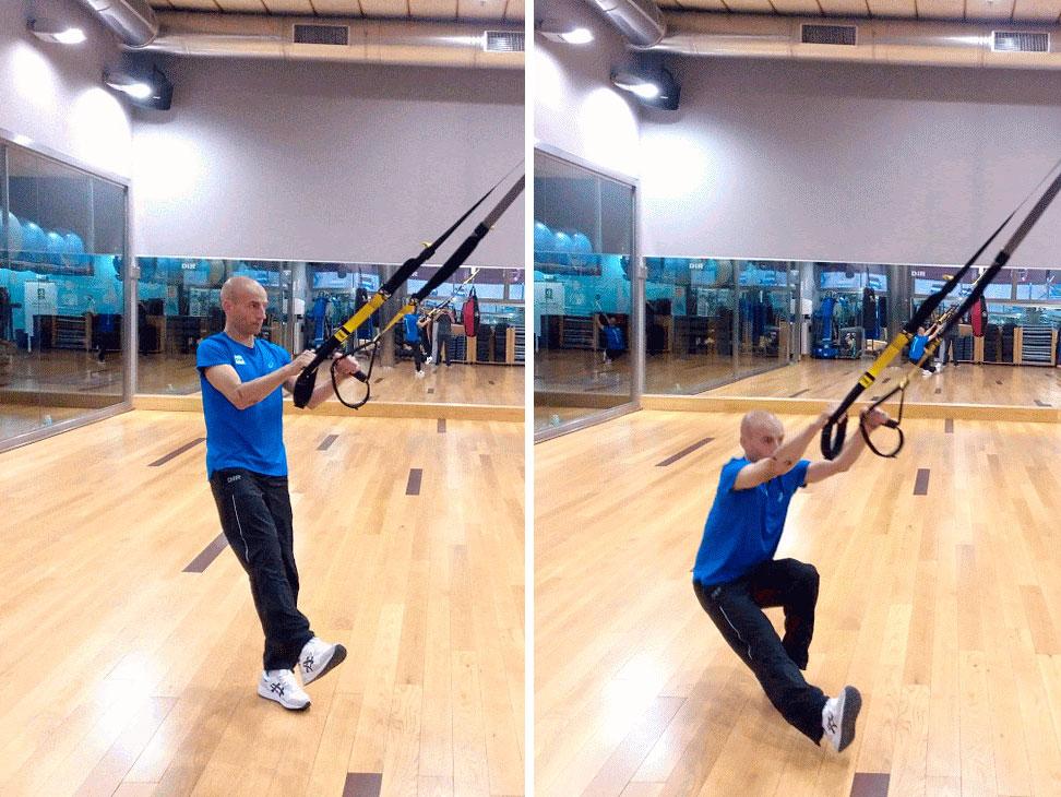 ejercicio trx de squat a una pierna